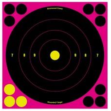 """Birchwood Casey 34808 Shoot-N-C Bull's-Eye  8"""" Self-Adhesive Circle Target 6 Pack Black/Pink"""