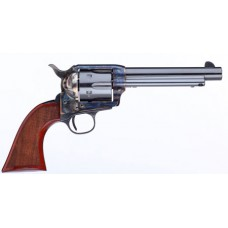 "Taylors and Company 555138 1873 Cattleman Gunfighter Single 357 Magnum 5.5"" 6 rd Walnut Checkered Army Sized Grip CCH Frame Blued"