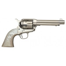 "Taylors and Company 555114 1873 Cattleman Nickel Single 45 Colt (LC) 4.75"" 6 rd Ivory Synthetic Grip Nickel"
