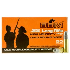 BBM 899033 High Velocity 22 LR 40 GR Lead Round Nose 50 Bx/ 100 Cs