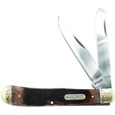 """Old Timer 95OTB Gunstock Trapper Folder 3.15"""" 440C Stainless Clip Point/Spey Sawcut Bone"""
