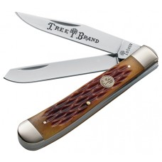 "Boker 110732 Traditional Series Folder 3.25"" Stainless Steel Clip Point/Pen Jigged Bone Brown"