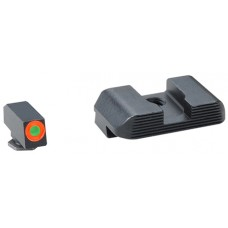 AmeriGlo GL433 Hackathorn Night Sight Set Glock 9/40 7/19/22/23/24/26/27/33/34/35/37/38/39 Green w/Orange Outline Front Black Rear Black