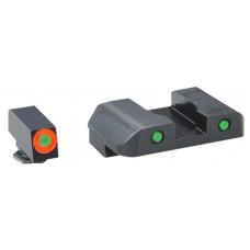 AmeriGlo GL446 Spartan Operator Night Sight Glock 17/19/22/23/24/26/27/33/34/35/37/38/39 Steel Green w/Orange Outline Steel Green w/Black Outline Black
