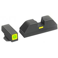 AmeriGlo GL615 CAP Night Sight Glock 20/21/29/30/31/32/36 Tritium Green w/Lime Outline Steel Blk