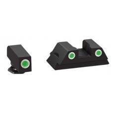 AmeriGlo GL430 Classic 3 Dot Night Sight Glock 42/43 Tritium/Paint Green w/White Outline Blk