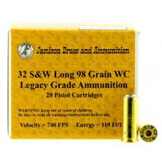 Jamison 32SWL98LEG Legacy Grade 32 Smith & Wesson Long 98 GR Wadcutter 20 Bx/ 10 Cs