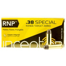 PolyCase Ammo 38SPLRNPBR50 Inceptor 38 Special 84 GR Round Nose 50 Bx/ 20 Cs