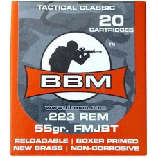 BBM 223FM55ZA Tactical 223 Remington/5.56 NATO 55 GR FMJ 20 Bx/ 50 Cs
