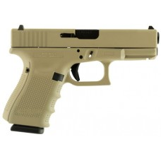 "Glock  G19 Double 9mm Luger 4.01"" 15+1 Desert Tan Interchangeable Backstrap Grip Desert Tan Cerakote"