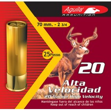 "Aguila 1C2002BA Field High Velocity 20 Gauge 2.75"" 2-3/4 oz 2 Buck 25 Bx/ 10 Cs"