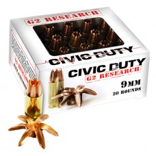 G2 Research CIVIC Civic Duty 9mm Luger 100 GR Hollow Point 20 Bx/ 25 Cs