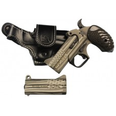 "Bond Arms OLDGLORY Old Glory Package 2 Leather Holster Derringer 45/410, 357/38 3.5"" 2 Black Ash American Flag Grip American Flag Stainless Steel Cerakote"