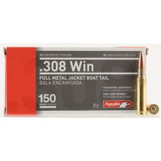 Aguila 1E308110 308 Winchester/7.62 NATO 150 GR Full Metal Jacket Boat Tail 20 Bx/ 25 Cs