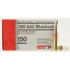 Aguila 1E300110 300 AAC Blackout/Whisper (7.62x35mm) 150 GR Full Metal Jacket Boat Tail 50 Bx/ 20 Cs