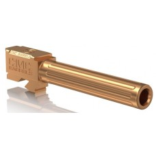 """CMC Triggers 75514 Match Precision Fluted Barrel compatible with Glock 17 Gen 3&4 9mm 4.48"""" 416R Stainless Steel Bronze"""