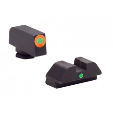 AmeriGlo GL205 i-Dot Night Sights Glock 42/43 Steel Green w/Orange Outline Steel Green Black