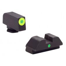 AmeriGlo GL305 i-Dot Night Sights Glock 42/43 Steel Green w/Lime Outline Blk