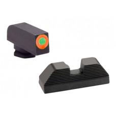 AmeriGlo GL436 Hackathorn Sight Glock 42/43 Steel Green w/Orange Outline Blk