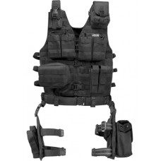 Barska QI12016 VX-100 Tactical Vest and Leg Platforms One Size Fits Most Black