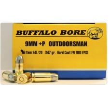 Buffalo Bore Ammunition 24L/20 9mm Luger +P+ 147 GR Hard Cast Flat Nose 20 Bx/ 12 Cs