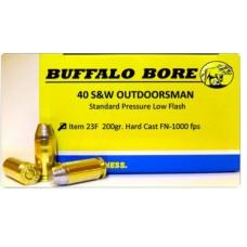 Buffalo Bore Ammunition 23F/20 40 Smith & Wesson 200 GR Hard Cast Flat Nose 20 Bx/ 12 Cs