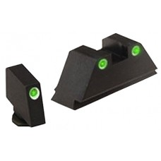 AmeriGlo GL329 Classic 3 Dot Night Sight Glock Suppressed (Except 42) Tritium Green w/White Outline Blk