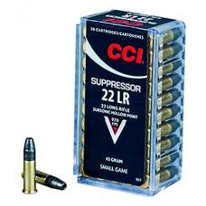 CCI 957 22 LR Suppressor 22 Long Rifle (LR) 45 GR Lead Hollow Point 50 Bx/ 100 Cs