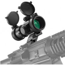 Barska AC12142 Tactical 1x 30mm Obj Unlimited Eye Relief 4 MOA Black Matte