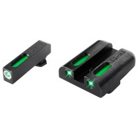 Truglo TG13GL1A TFX Day/Night Sights Glock 17/19/22/23/24/26/27/33/34/35/38/39 Tritium/Fiber Optic Green w/White Outline Front Green Rear Black