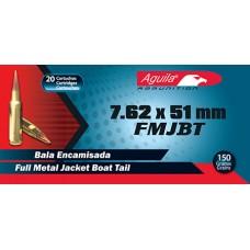 Aguila 1E762110 308 Winchester/7.62 NATO 150 GR FMJBT 20 Bx/ 50 Cs