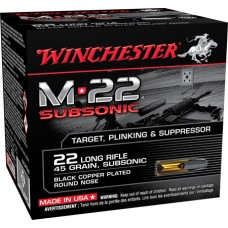Winchester Ammo S22LRTSU8 M-22 Subsonic 22 Long Rifle 45 GR Lead Round Nose 800 Bx/ 2 Cs