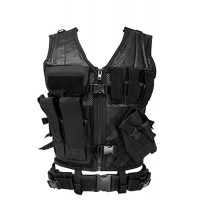 NCStar CTV2916B Tactical Vest Black M-XL Tough PVC/Mesh Webbing