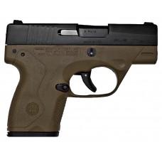"Beretta JMN9S55 BU9 Nano DAO 9mm 3.07"" 6+1/8+1 FDE Poly Grip/Frame Black Slide"