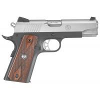 """Ruger 6711 SR1911 Single 45 ACP 4.25"""" 7+1 Hardwood Panel Grip SS Slide/Blued"""