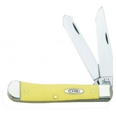 Case 00161 Trapper Folder Chrome Vanadium Clip/Spey Blade Yellow Syn Hndl