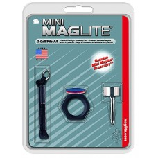 Maglite AM2A016 Mini Maglite Accessory Pack Clear/Red/Blue Lenses w/Holder/Clip