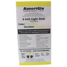 "AmeriGlo 612HY100F 6"" 12 Hour Yellow Light Stick 100/Pack"