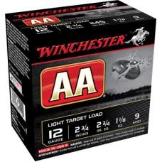 """Winchester Ammo AA129 AA Target Loads 12 Gauge 2.75"""" 1-1/8 oz 9 Shot 25 Bx/10 Cs"""