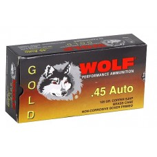 Wolf G45HP1 Gold 45 ACP Semi-Jacketed Hollow Point 185 GR 50 Box/10 Case