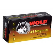 Wolf G44HP1 Gold 44 Remington Magnum Jacketed Hollow Point 240 GR 50 Box/10 Case
