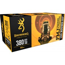 Browning Ammo B191803804 Training & Practice 380 Automatic Colt Pistol (ACP) 95 GR Full Metal Jacket 100 Bx/ 5 Cs