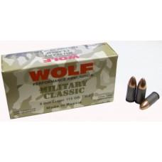 Wolf MC919FMJ Military Classic 9mm Luger 115 GR Full Metal Jacket 50 Bx/ 10 Cs