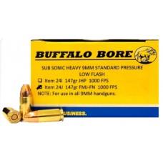 Buffalo Bore Ammunition 24J/20 9mm 9mm Luger 147 GR Full Metal Jacket Flat Nose 20 Bx/ 12 Cs