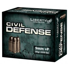 Liberty LA-CD-09-014 Civil Defense 9mm +P 50GR LF Fragmenting HP 20Bx