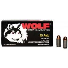 Wolf MC45FMJ Military Classic 45 Automatic Colt Pistol (ACP) 230 GR Full Metal Jacket 50 Bx/ 10 Cs
