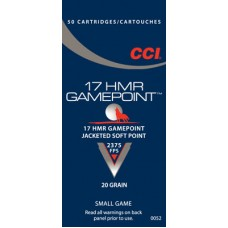 CCI 0052 Small Game 17 Hornady Magnum Rimfire (HMR) 20 GR Jacketed Soft Point 50 Bx/ 40 Cs