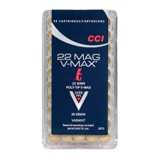 CCI 0073 Varmint 22 Winchester Magnum Rimfire (WMR) 30 GR Poly-Tip V-Max 50 Bx/ 40 Cs