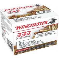 Winchester Ammo 22LR333HP 333 Rounds 22 Long Rifle 36 GR Copper-Plated Hollow Point 333 Bx/ 10 Cs