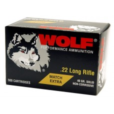 Wolf 22XTRA Match 22 Long Rifle 40 GR Round Nose 5000 Rds